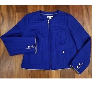 Chicos Quilted Lined Royal Blue Zipup Jacket